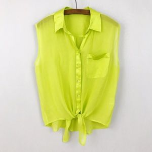 Equipment Lime Green Tie Front Silk Tank Top